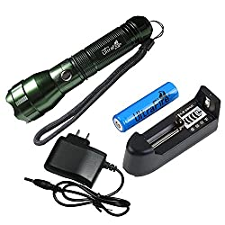 2014 ARRIVAL Flashlight-UltraFire CREE Q5 300LM 535 Rechangable 3-Mode Portable Mini LED Flashlight Torch-Green With Battery And Charger for hunting, cycling, climbing, camping and outdoor activity etc by Spring Digi Center