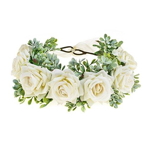 Vividsun Women Flower Crown Floral Headpiece Festival Wedding Hair Wreath Floral Crown (White)