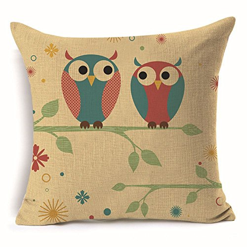 Jason X Costume Ebay (ONETY Cartoon Cute Owl Cotton Linen Decorative Throw Pillow Case Cushion Cover Square 18
