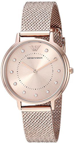 Emporio Armani Women's Quartz Stainless Steel Casual Watch, Color:Pink (Model: AR11129)