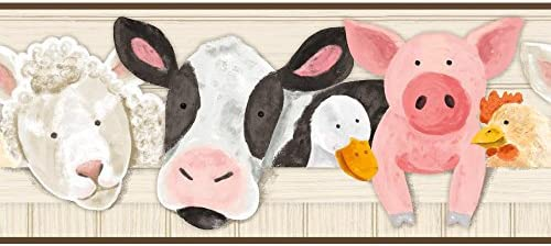 York Wallcoverings SB7679BD Brothers and Sisters V Barnyard Friends ボーダー ベージュ ホワイト ブラック ピンク ブラウン