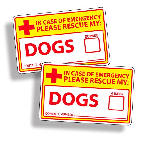 Dalmatian Fireman Dog (Safety Yellow Dog Rescue Safety Sticker 911 Pet K9 Alert Window Door Decal Graphic)