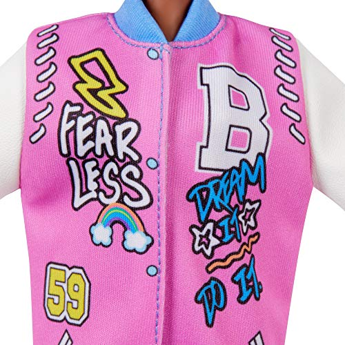 Barbie Fashionistas Doll #156 with Curly Brunette Hair and Letterman Jacket, Toy for Kids 3 to 8 Years Old