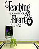 Design with Vinyl RAD 755 3 Teaching Is A Work of Heart School Teacher Classroom Quote Wall Decal, Black, 20 x 30''