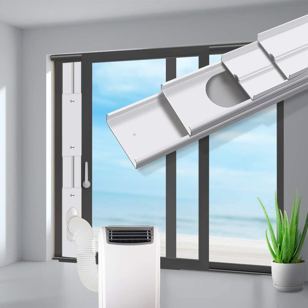gulrear Sliding Door Air Conditioner Kit, Max Adjustable Length 220cm/87Inch, Sliding Door AC Vent Kit, Suit for 13cm/5.1Inch Exhaust Hose