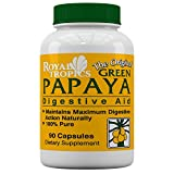 Royal Tropics Natural Digestive Green Papaya Super Enzyme Powder in Capsule form, Supports better Digestion and Nutrient Absorption for Weight Control, 100% Pure, Non GMO, 90 Capsules. For Sale