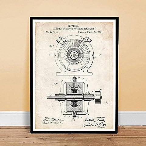 TESLA ALTERNATING ELECTRIC CURRENT GENERATOR INVENTION 1891 US PATENT ART POSTER PRINT 18X24 NICOLA AC GIFT (Tesla Patent)