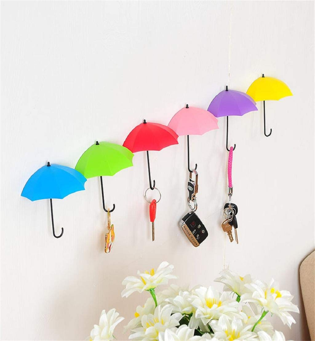 Clearance Sale!DEESEE(TM)6Pcs Colorful Umbrella Wall Hook Key Hair Pin Holder Organizer Decorative Organizer