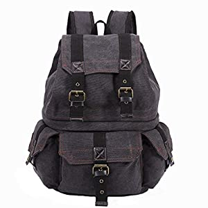 Emecca DSLR and Laptop Backpack Canvas Real Leather Camera Rucksack Bag with Rain Cover (Black)