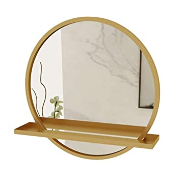 Amazon Com Sdk Round Makeup Wall Mirror With Shelf Gold Frame Bathroom Mirror Wall Living Room Bedroom Makeup Mirror Shaving 50cm 60cm Color Gold Size 50cm Beauty
