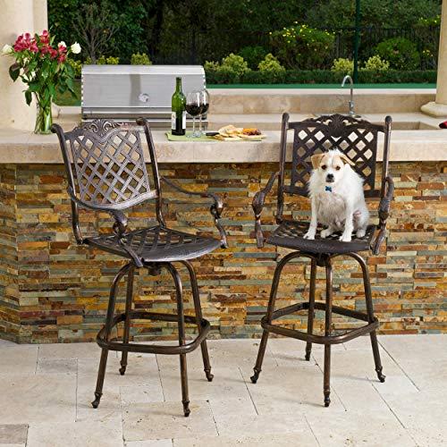 Great Deal Furniture 238779 Pomelo Outdoor Cast Aluminum Bar Stools (Set of 2), Shiny Copper ()