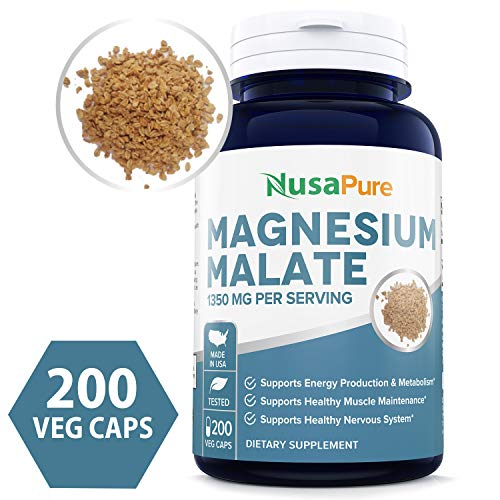 Magnesium Malate 1350mg 200 Veggie Capsules (Non-GMO & Gluten Free) High Potency - Supports Energy Production, Healthy Metabolism, Muscles Function & Nerve Function - 100% Money Back Guarantee! ()