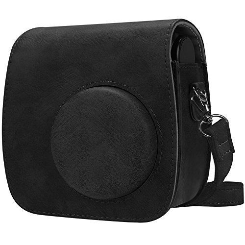 Fintie Protective Case Compatible with Polaroid PIC-300 / Fujifilm Instax Mini 7s Instant Film Camera - Premium Vegan Leather Bag Cover with Removable Strap, Vintage Black