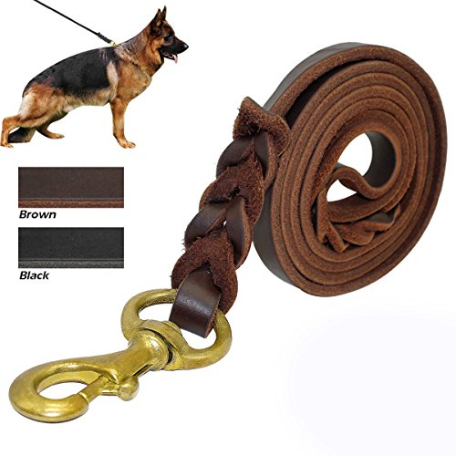 Saiger Braided Genuine Leather Dog Leash 8 Foot Long 3/4 Inch Wide Dog Training Leash Lead Strong, Durable Dog Slip Lead with Dog Training Whistle