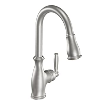 moen 7185csl brantford one handle high arc pulldown kitchen faucet featuring reflex classic stainless - Moen Kitchen Sink Faucet