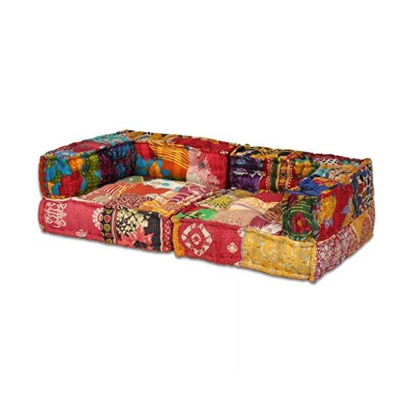 vidaXL Pouf Modulaire à 2 Places Canapé de Salle de Séjour Sofa de Salon Meuble de Salle de Séjour Maison Intérieur Patchwork Tissu