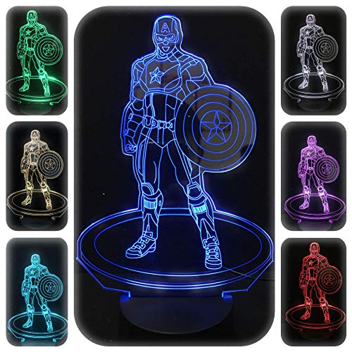Captain Control - 3D Night Lights for Kids 7 Colors 3D LED Illusion Lamp with Remote Control-Bedroom Table Lamp (Captain America)