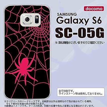 a3ff775b2c Amazon   SC05G スマホケース Galaxy S6 SC-05G カバー ギャラクシー S6 蜘蛛の巣B ピンク nk-sc05g-941    ケース・カバー 通販