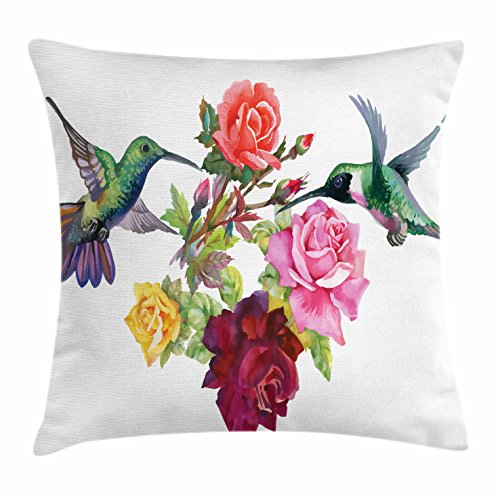 Lunarable Birds Throw Pillow Cushion Cover, Hand Drawn Ornate Colorful Roses and Watercolor Hummingbirds Romantic Illustration, Decorative Rectangle Accent Pillow Case, 26