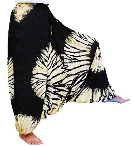 Loong Cha's Women Tie Dye Pants Baggy Aladdin Hippy Harem Adjustable Waist (Black)