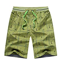 LETSQK Men's Casual Cotton Plus size Printed Runner Volley Surf Swim Trunks