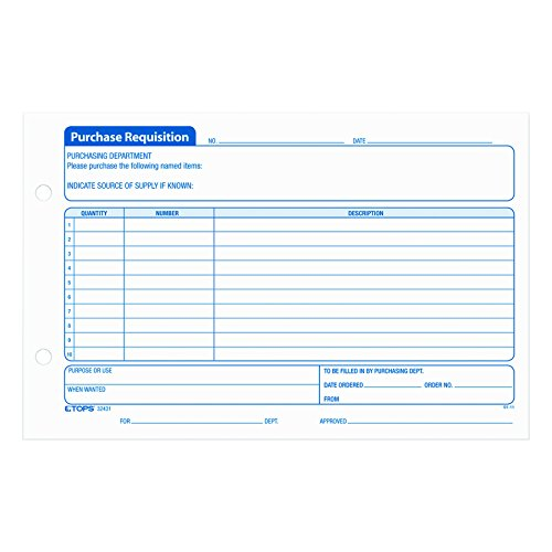 Tops Purchase Order (TOPS Purchase Requisition Pad, 10 Lines, 5.5 x 8 Inches, 100 Sheets per Pad, 2 Pads/Pack (32431))