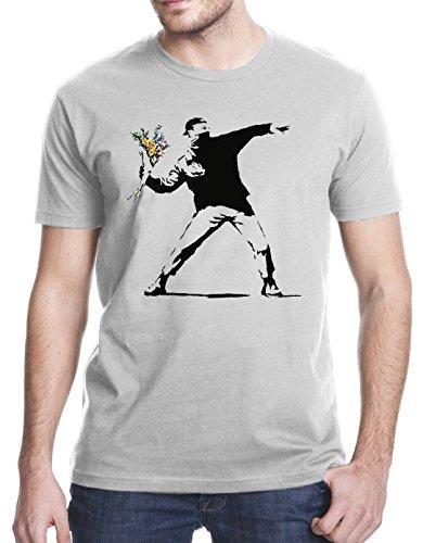 Banksy Flower Thrower T-Shirt, 3XL, Gray