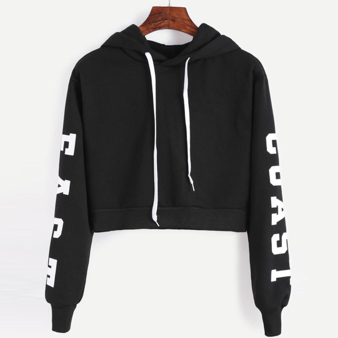 10fa0bc18 Ankola Cropped Hoodies, Women's 2019 Fashion Long Sleeve Patchwork Crop Top  Sweatshirt