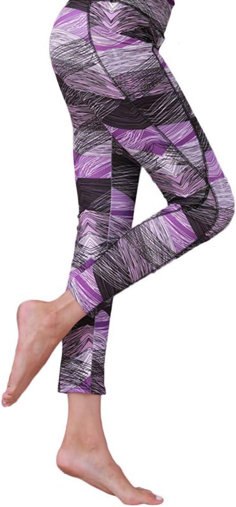 URIBAKE Women Mid Waist Workout Leggings Purple Print Stretch Sports Yoga Fitness Running Workout Pants