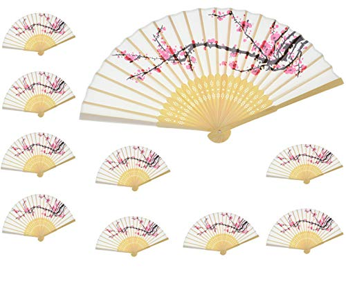 Aloddy 10 PCS Delicate Cherry Blossom Design Silk Folding Hand Fan Wedding Favors Gifts,Fan Girls, Ladies, Church Wedding Gift, Party Favors, DIY -