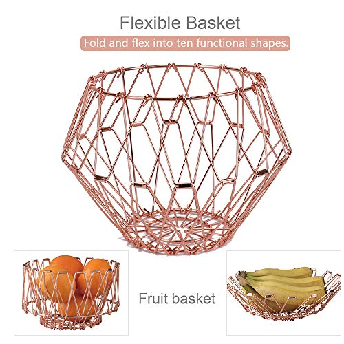 Jion Ware Flexible Rose Gold Wire Basket Transforming For Fruit Bread or Decorative Items