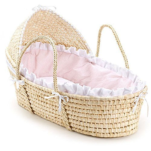 Natural Hooded Moses Basket with Pink Gingham Bedding