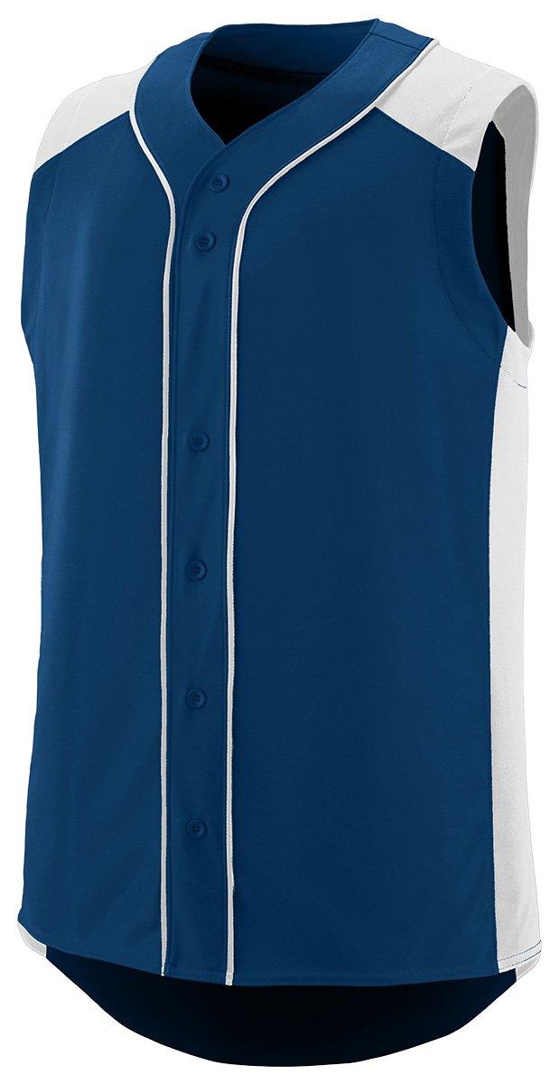 Augusta SportswearメンズノースリーブSlugger野球ジャージー B01B6OG50M Small|ネイビー/ホワイト ネイビー/ホワイト Small
