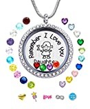 JOLIN Daughter Gift from Mom Dad, Remember I Love You Daughter Living Memory Floating Locket Necklace, Charms Birthstones Pendant Girls