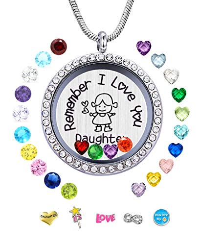 JOLIN Daughter Gift from Mom Dad, Remember I Love You Daughter Living Memory Floating Locket Necklace, Charms Birthstones Pendant Girls -