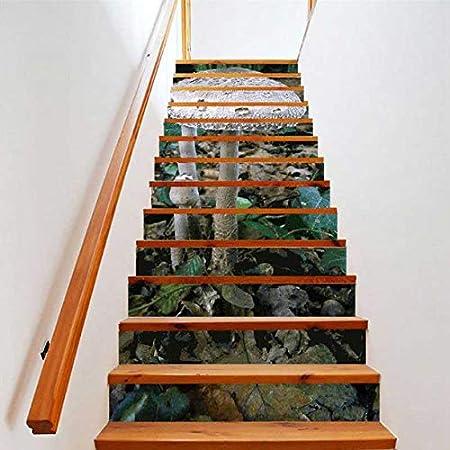 floolter Pegatinas de Escalera de Seta Fondos de Pantalla 3D Calderas de Pies A Prueba de Agua PVC Wall Art Stickers Decoración para el Hogar Calcomanías de Escalera de Vinilo 18 * 100 CM 6 Unids