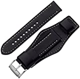 (US) Fossil S221241 22mm Leather Calfskin Black Watch Strap