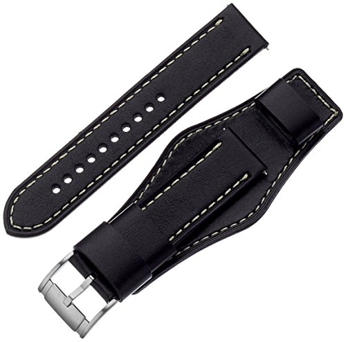 (Fossil S221241 22mm Leather Calfskin Black Watch Strap)