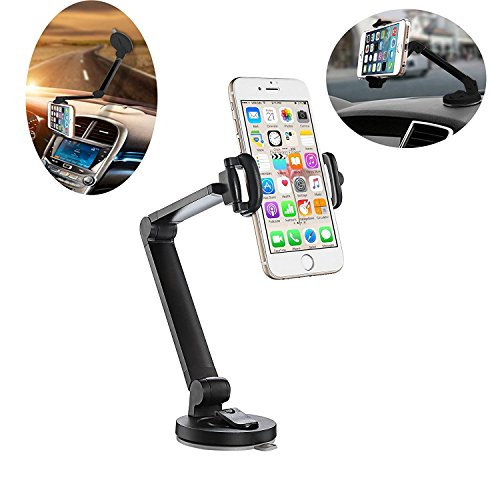 Car Phone Mount Holder, Windshield Dashboard Desktop Foldable Universal Car Mobile Phone Cradle with Strong Suction Cup for iPhone, Android Smartphone and more-Black