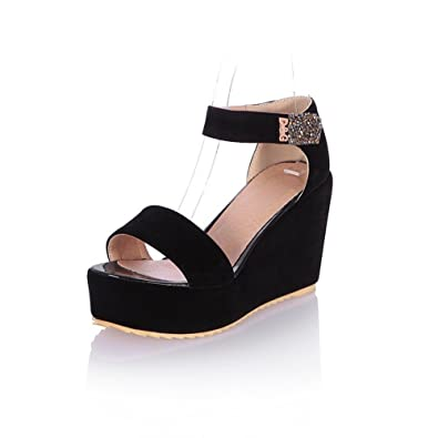 95ad6c10f1b8f6 WeenFashion Girls Open Toe High Heel Platform Wedge Imitated Suede Solid  Sandals with Glass Diamond