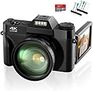 4K Digital Camera 48MP Video Camera, 16X Digital Zoom Camera for YouTube, with Wide-Angle Lens, Battery Charge