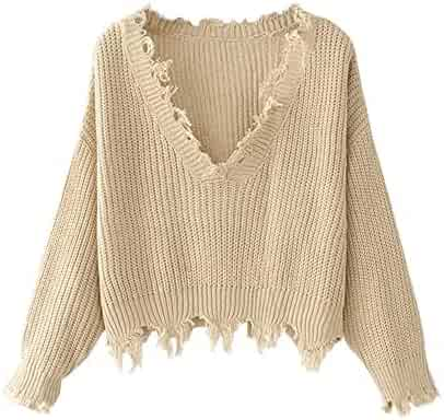ZAFUL Women's Solid V Neck Loose Sweater Long Sleeve Ripped Jumper Pullover Knitted Crop Top