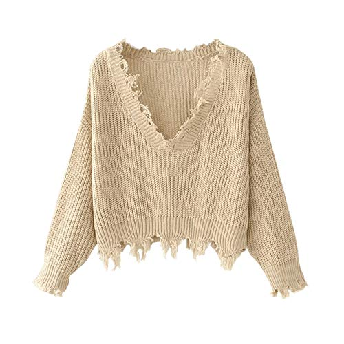 ZAFUL Women's Solid V Neck Loose Sweater Long Sleeve Ripped Jumper Pullover Knitted Crop Top Khaki