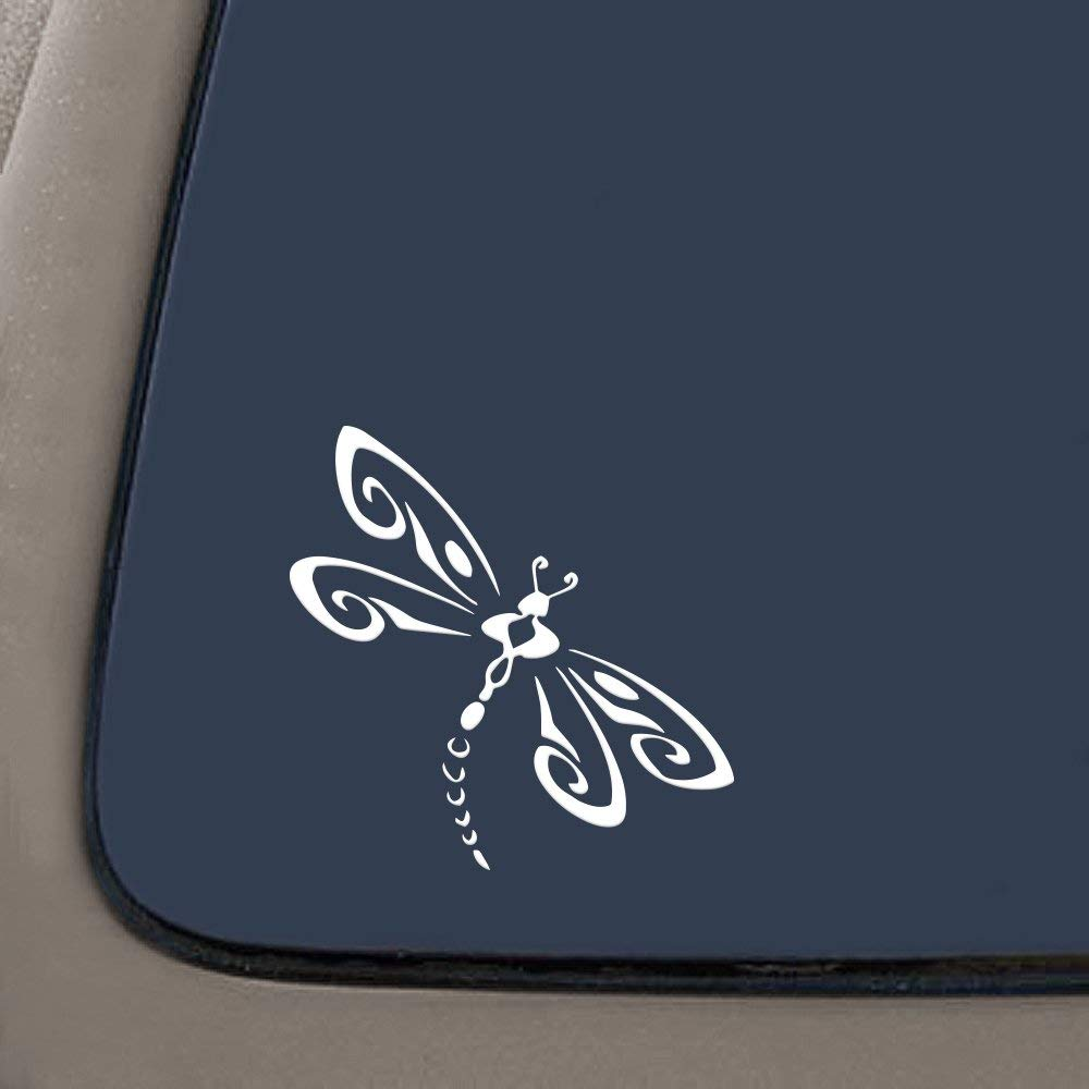 Premium Quality White Vinyl Dragonfly Die Cut Vinyl Window Decal//Sticker for Car//Truck 4.5-Inch by 4.5-Inch RS101