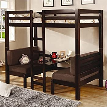 Amazon Com Walker Edison Twin Over Futon Metal Bunk Bed Black