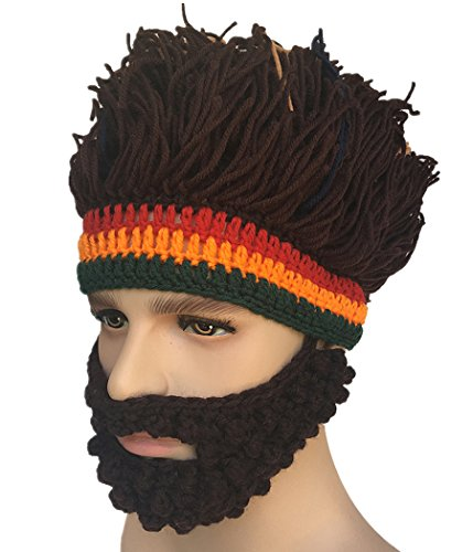 Wig Mask (Kafeimali Barbarian Knit Bearded Hats Wig Mask Original Foldaway Funny Caps (Brown))