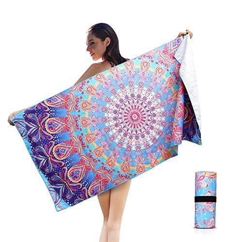 (AtailorBird Beach Towel Sand Free Throw Sunscreen Mandala Shawl Picnic Blanket Quick Dry Sport PoolTowel 59x29.5inch)