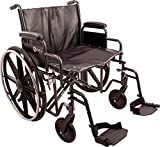 ProBasics K7 Heavy-Duty Wheelchair with 22'' x 18'' Vinyl Upholstered Seat, Removable Desk-Length Arms, and Swing Away Footrests, Supports Patient Weights up to 450 pounds