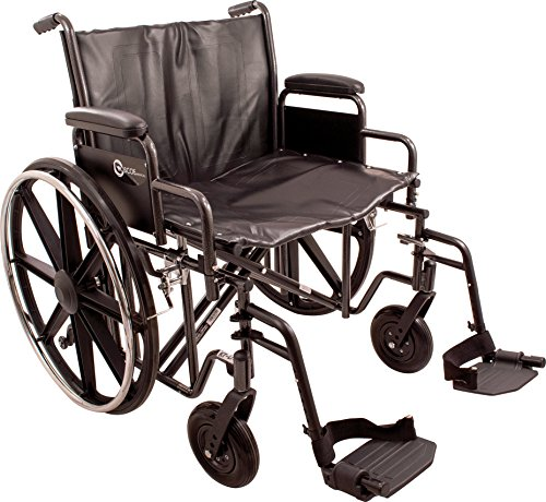 "ProBasics K7 Heavy-Duty Wheelchair with 22"" x 18"" Vinyl Upholstered Seat, Removable Desk-Length Arms, and Swing Away Footrests, Supports Patient Weights up to 450 pounds"