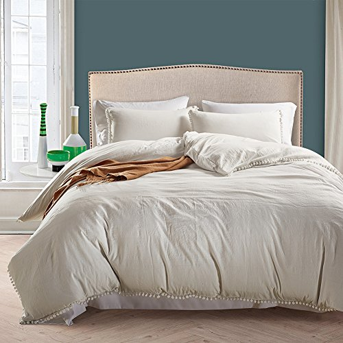 AiMay Pom Poms 3 Piece Duvet Cover Set (1 Duvet Cover + 2 Pillow Shams) Stone-Washed Brushed Luxury 100% Super Soft Microfiber Bedding Collection (Queen, White) (Sham Queen Double)